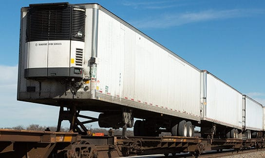 Refrigerated-Intermodal-Temperature-controlled-trailer-piggybacking-on-a-train