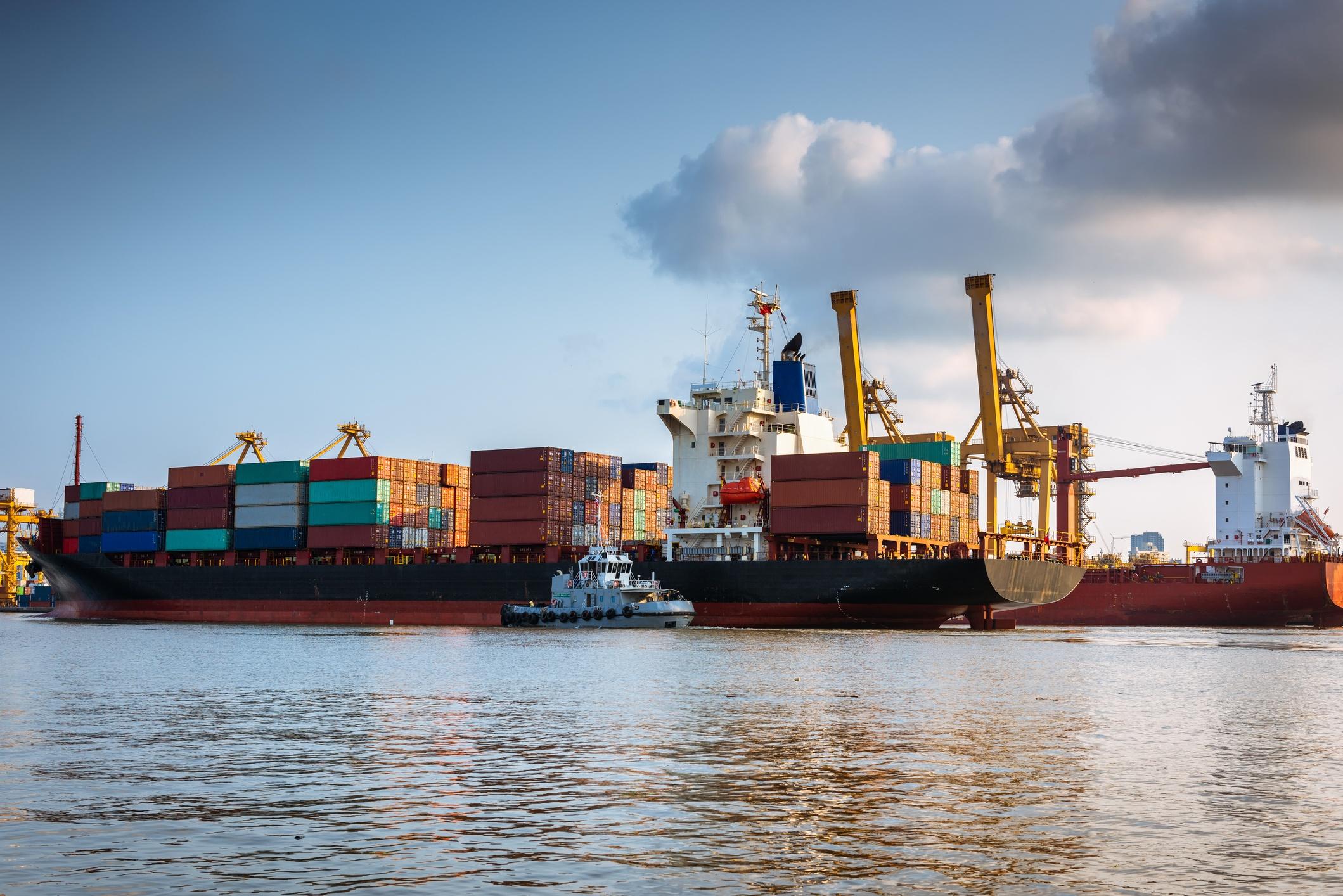 Ocean container vessel in Montevideo Harbor