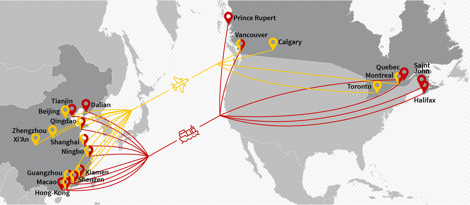 Cargo & freight shipping from China to Canada by Air Charter or Ocean Container - Main POL, POD & Routes