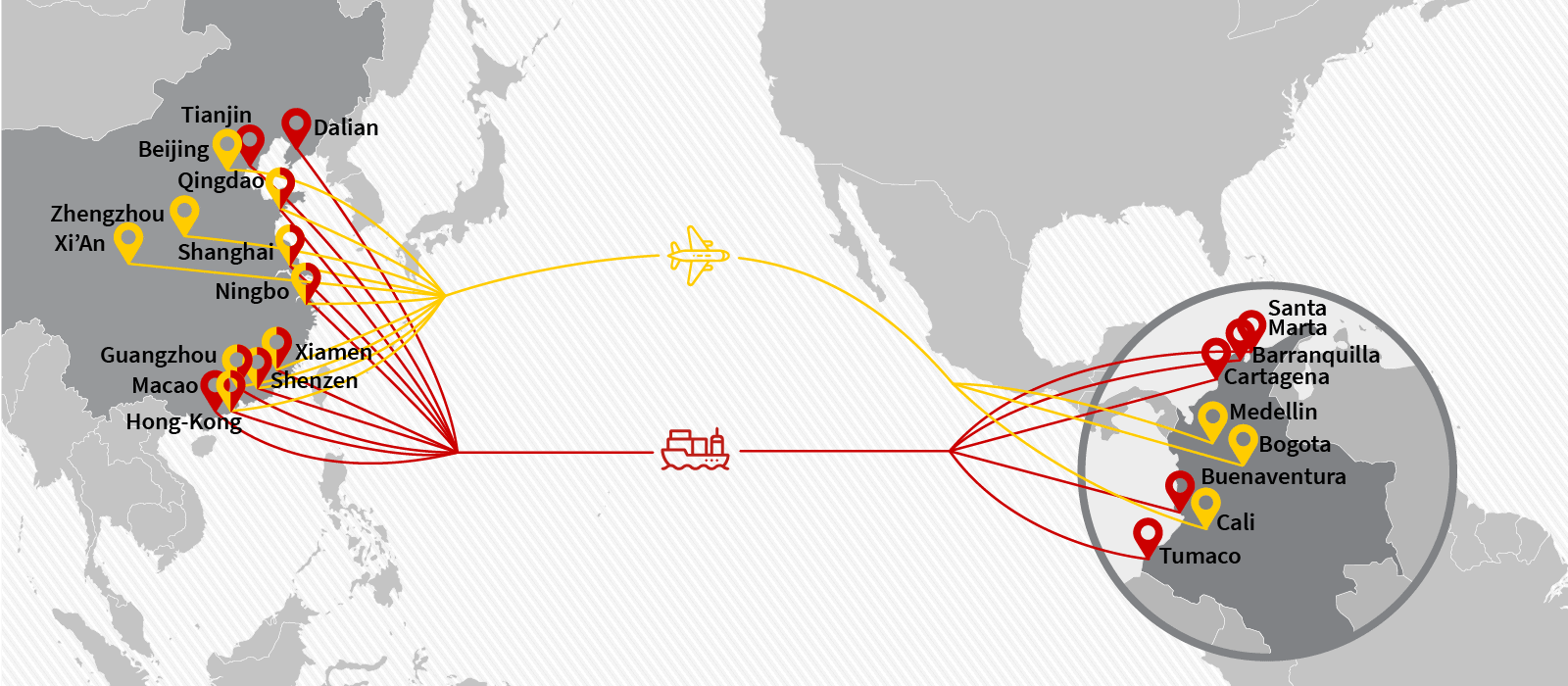 Cargo & freight shipping from China to Colombia by Air Charter or Ocean Container - Main POL, POD & Routes