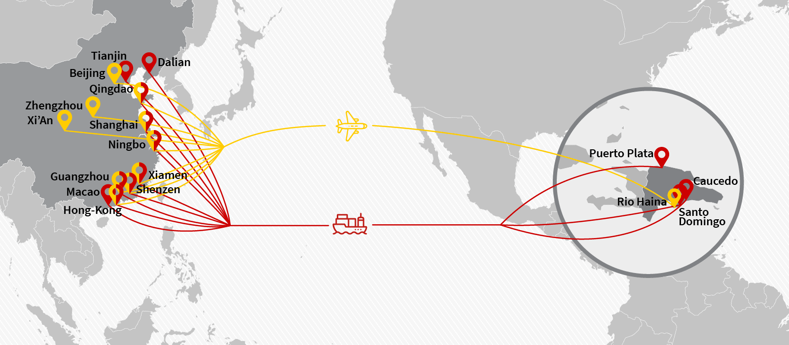 Cargo & freight shipping from China to the Dominican Republic by Air Charter or Ocean Container - Main POL, POD & Routes