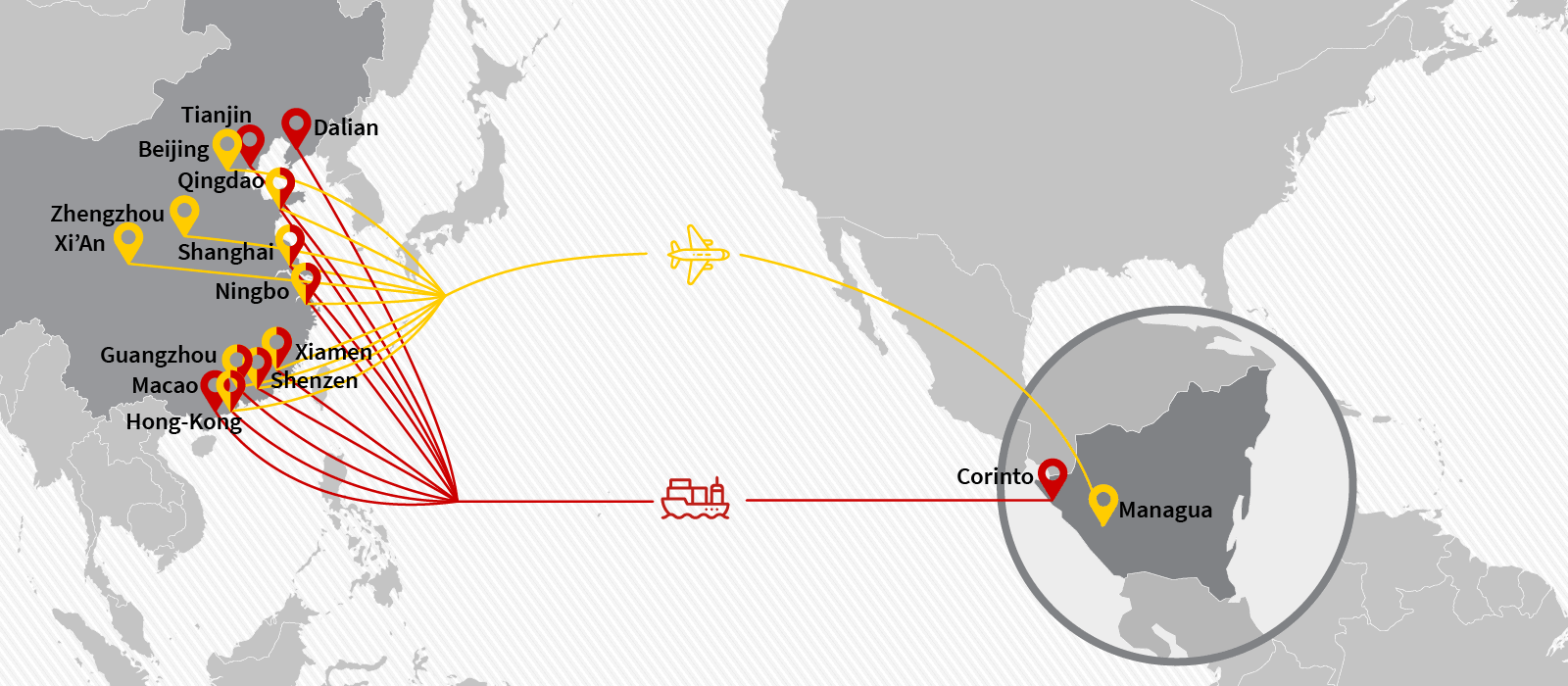 Cargo & freight shipping from China to Nicaragua by Air Charter or Ocean Container - Main POL, POD & Routes