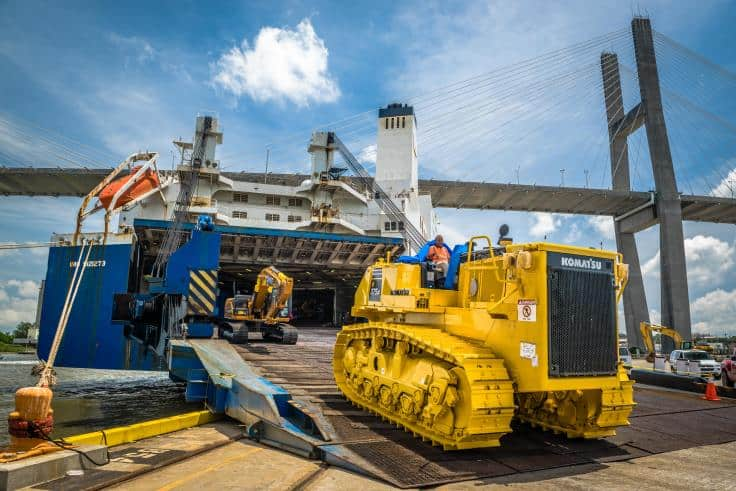 Shipping mining vehicles and equipment via RORO freight